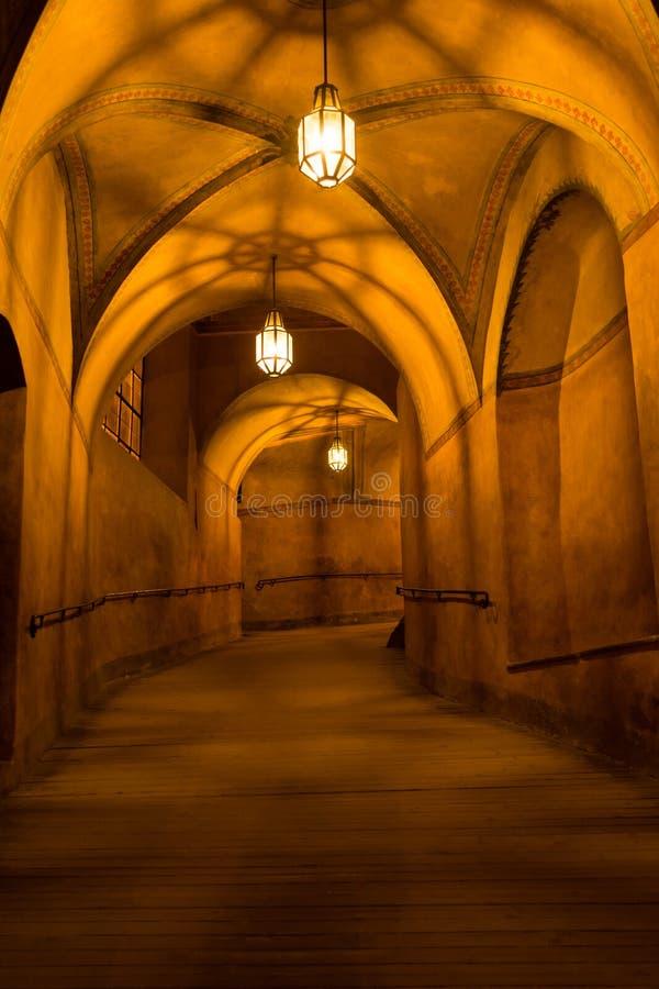 Couloir de château de Cesky Krumlov photographie stock libre de droits