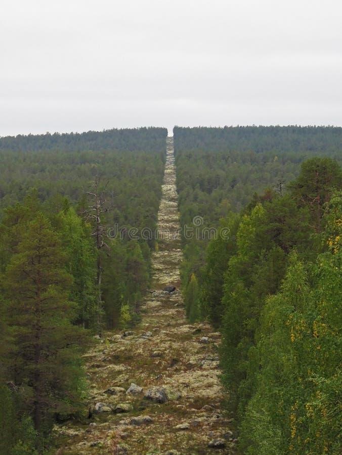 Couloir de forêt construisant le cairn de Trois-pays à la frontière entre la Russie, la Norvège et la Finlande photographie stock