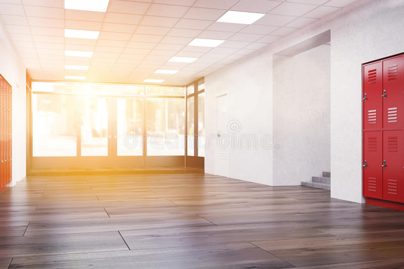 Download Couloir Ensoleillé D'école Avec Le Plancher En Bois Illustration Stock - Illustration du vide, protection: 76077931