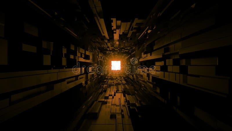 Couloir futuriste de tunnel de l'espace avec le rendu rougeoyant gentil du fond 3d d'éclat illustration stock