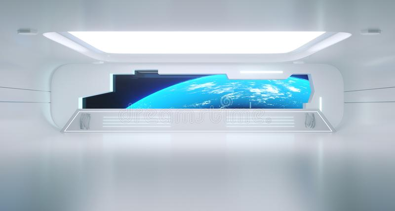 Couloir futuriste propre lumineux de vaisseau spatial de la science fiction avec la terre Vi illustration libre de droits