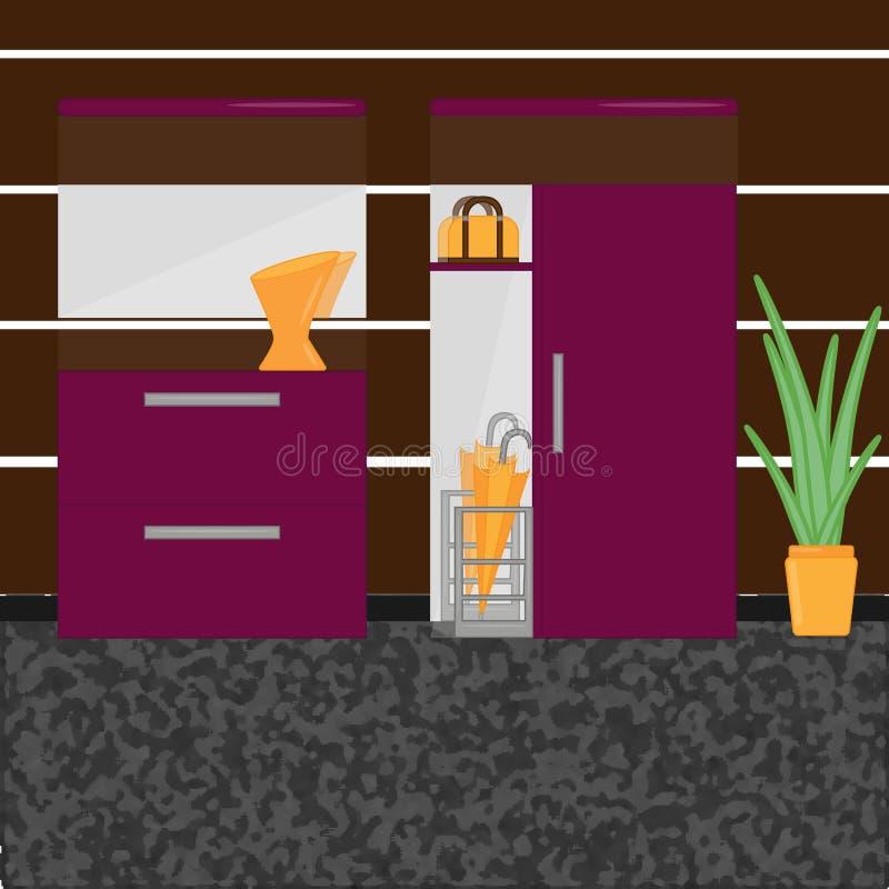 Couloir intérieur avec la garde-robe illustration libre de droits