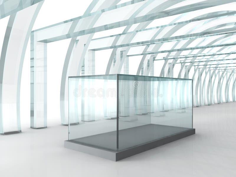 Couloir ou tunnel en verre lumineux avec la boîte en verre pour l'exposition dedans illustration stock