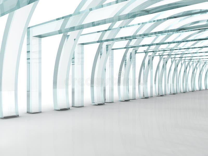 Couloir ou tunnel en verre lumineux dans la perspective illustration libre de droits