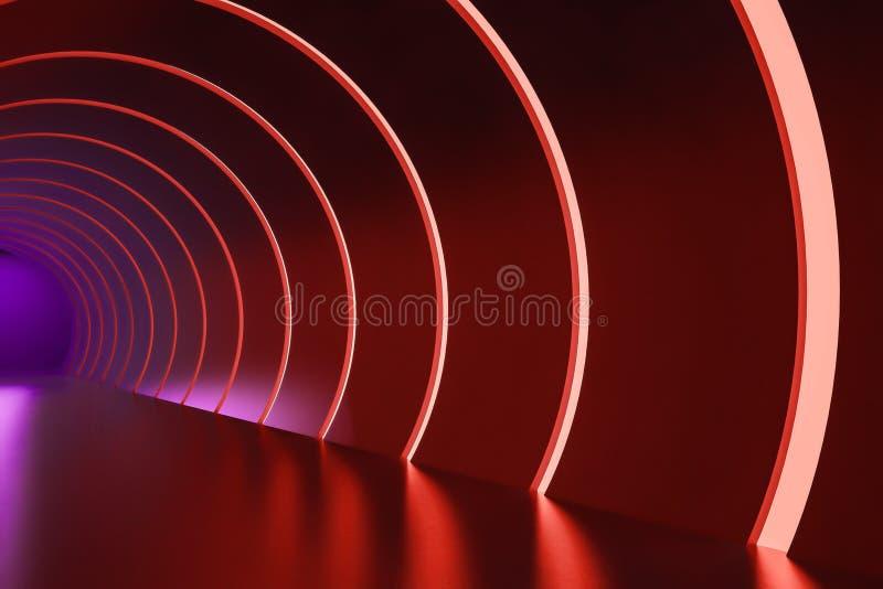 Couloir rond avec les lampes au néon pourpres et rouges illustration de vecteur
