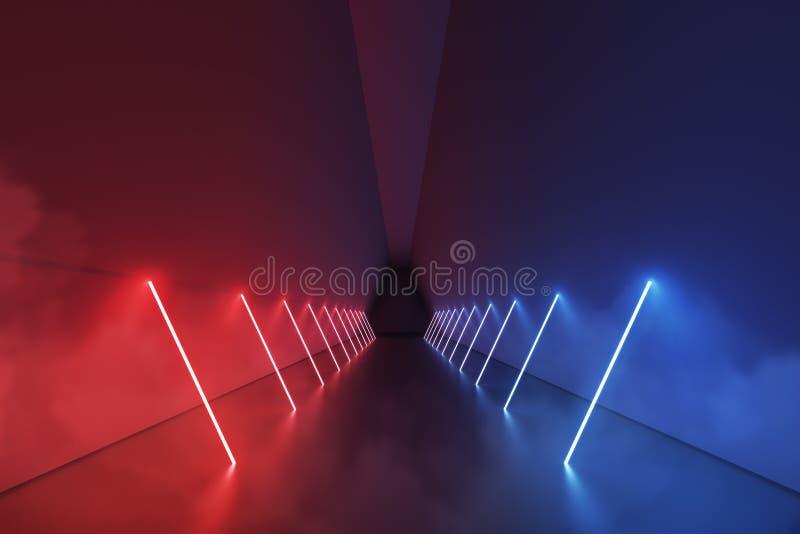 Couloir rouge et bleu de lampes au néon illustration libre de droits