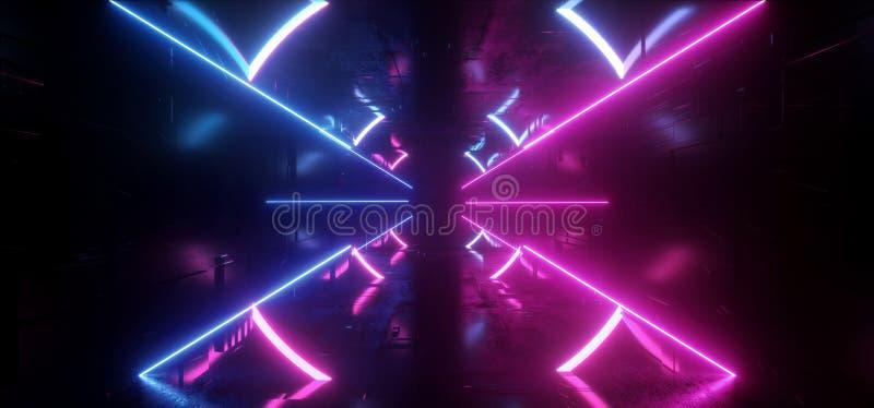 Couloir rougeoyant au néon de tunnel formé par résumé vibrant virtuel portail moderne à rayon laser de rectangle de triangle de C illustration stock
