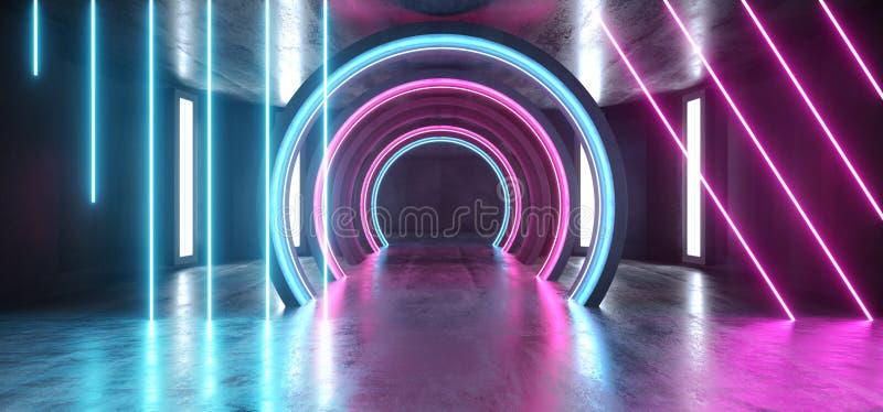 Couloir souterrain vide sombre fluorescent bleu rougeoyant grunge concret de tunnel de laser de pourpre de lampes au néon de futu illustration libre de droits