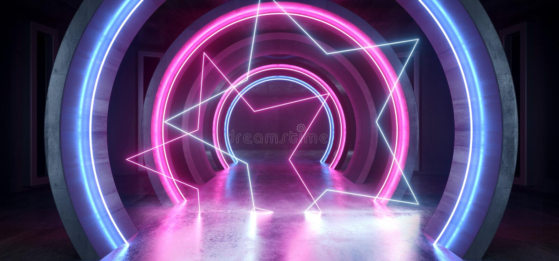 Couloir souterrain vide sombre fluorescent bleu rougeoyant grunge concret de tunnel de laser de pourpre de lampes au néon de futu illustration stock