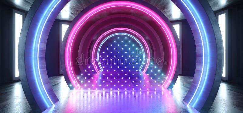 Couloir souterrain vide sombre fluorescent bleu rougeoyant grunge concret de tunnel de laser de pourpre de lampes au néon de futu illustration de vecteur