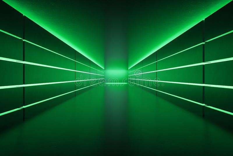 Couloir vide futuriste avec les lampes au néon vertes illustration stock