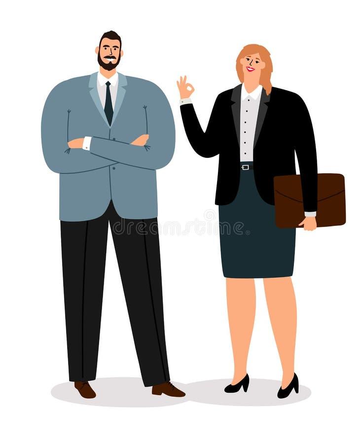 Coulpe de los hombres de negocios en blanco ilustración del vector