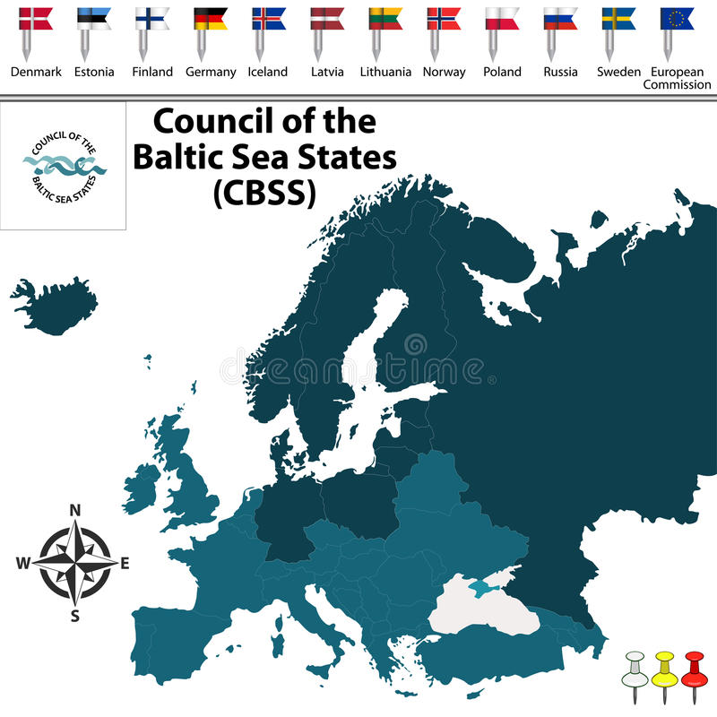 Council of the Baltic Sea States. Vector map of Council of the Baltic Sea States CBSS with buttons and flags on white background royalty free illustration