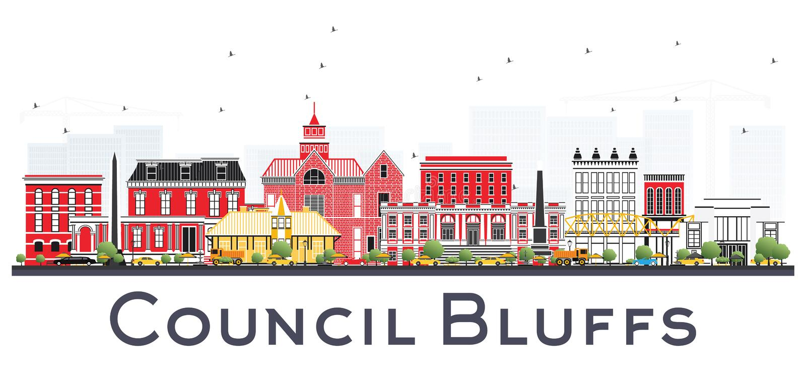 Council Bluffs Iowa Skyline with Color Buildings Isolated on White Background. Vector Illustration. Business Travel and Tourism Illustration with Historic royalty free illustration