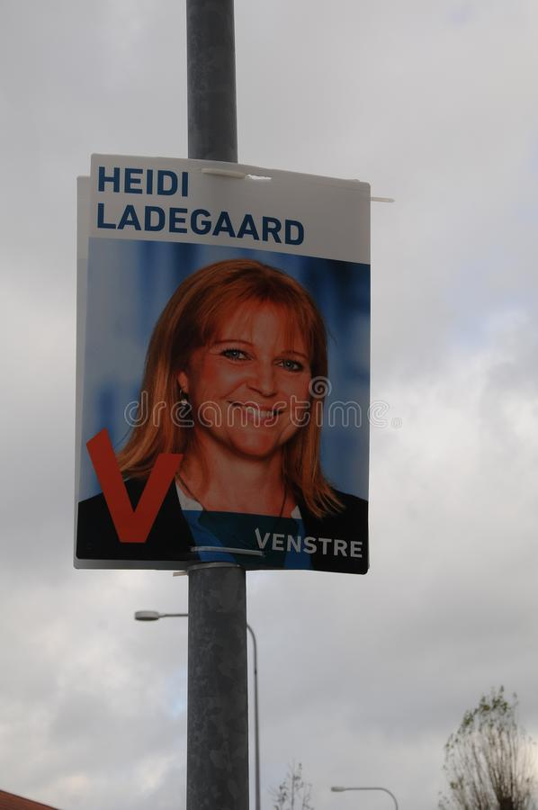Council election posters in copenahgen denmark. Kastrup/Copenhagen /Denmark - 28.October 2017. Danish local parties hang thier candidate for council election royalty free stock photography