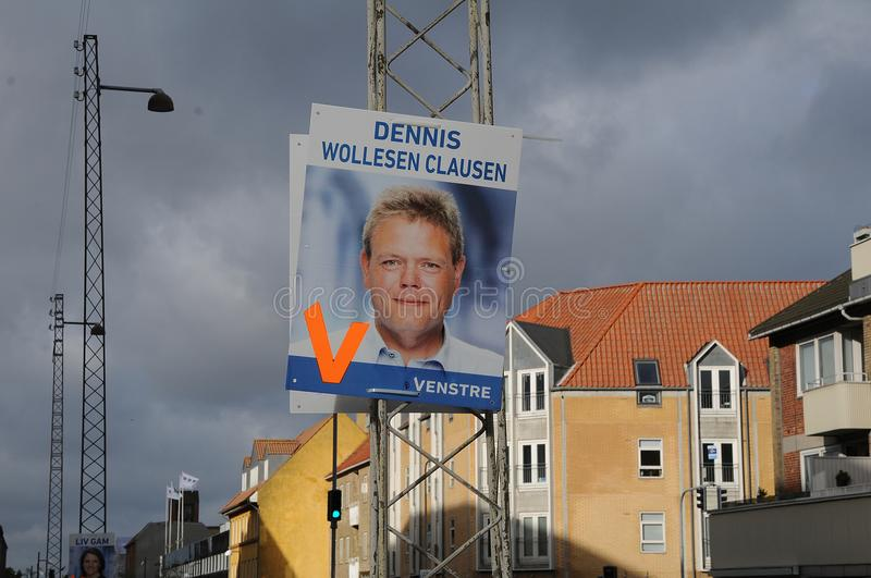 Council election posters in copenahgen denmark. Kastrup/Copenhagen /Denmark - 28.October 2017. Danish local parties hang thier candidate for council election royalty free stock image