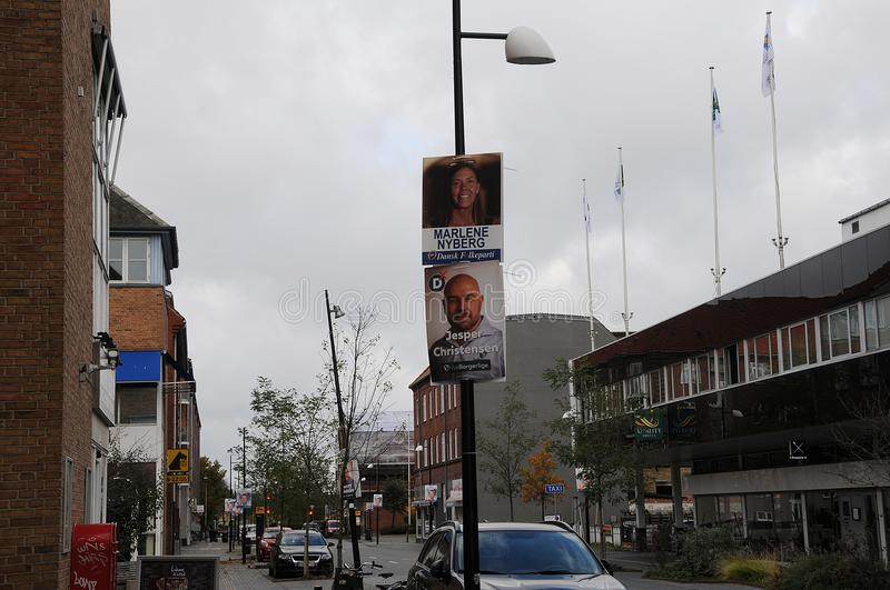 Council election posters in copenahgen denmark. Kastrup/Copenhagen /Denmark - 28.October 2017. Danish local parties hang thier candidate for council election royalty free stock images