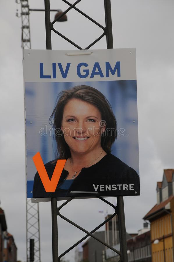 Council election posters in copenahgen denmark. Kastrup/Copenhagen /Denmark - 28.October 2017. Danish local parties hang thier candidate for council election royalty free stock photos