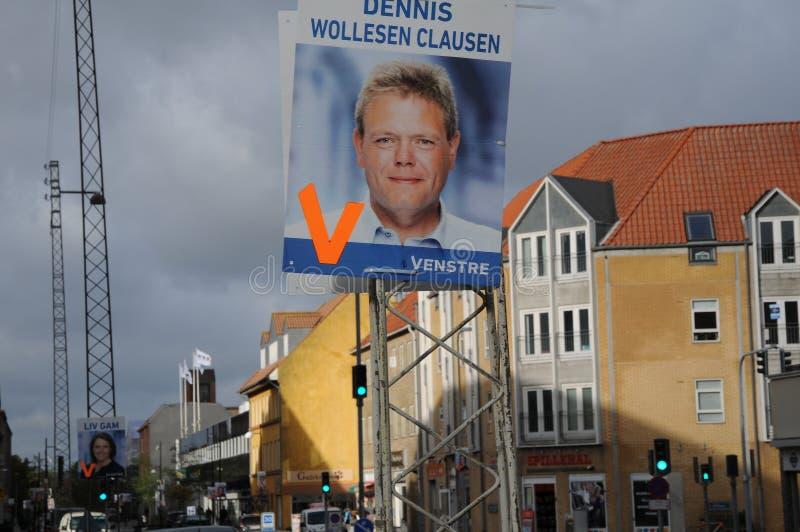 Council election posters in copenahgen denmark. Kastrup/Copenhagen /Denmark - 28.October 2017. Danish local parties hang thier candidate for council election stock photos