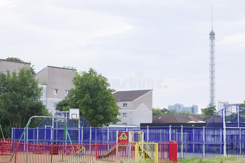 Council estate play park in waste ground London. UK royalty free stock photo