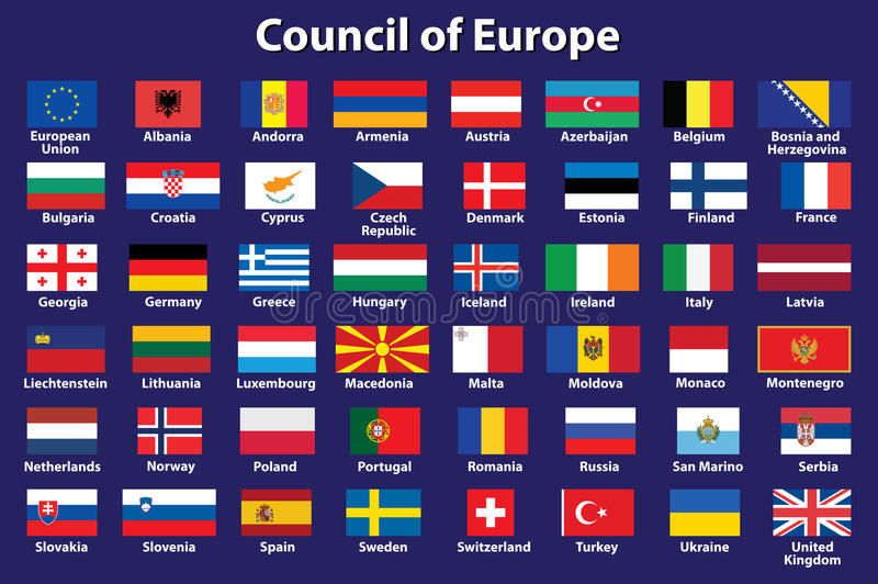 Council of Europe flags. Set of Council of Europe flags vector illustration royalty free illustration