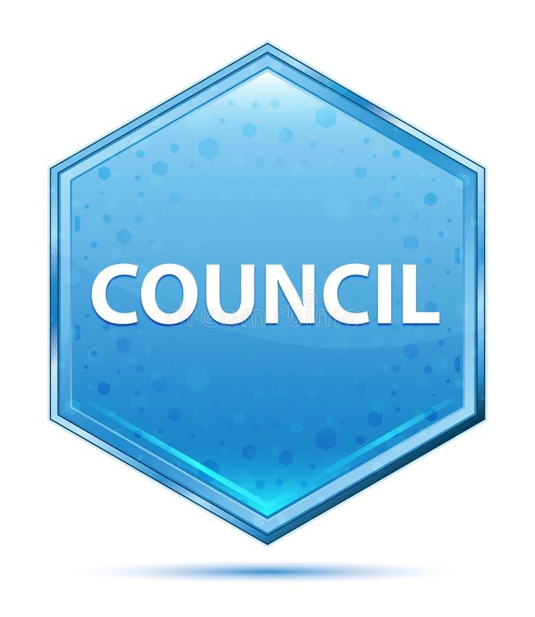 Council crystal blue hexagon button. Council Isolated on crystal blue hexagon button stock illustration