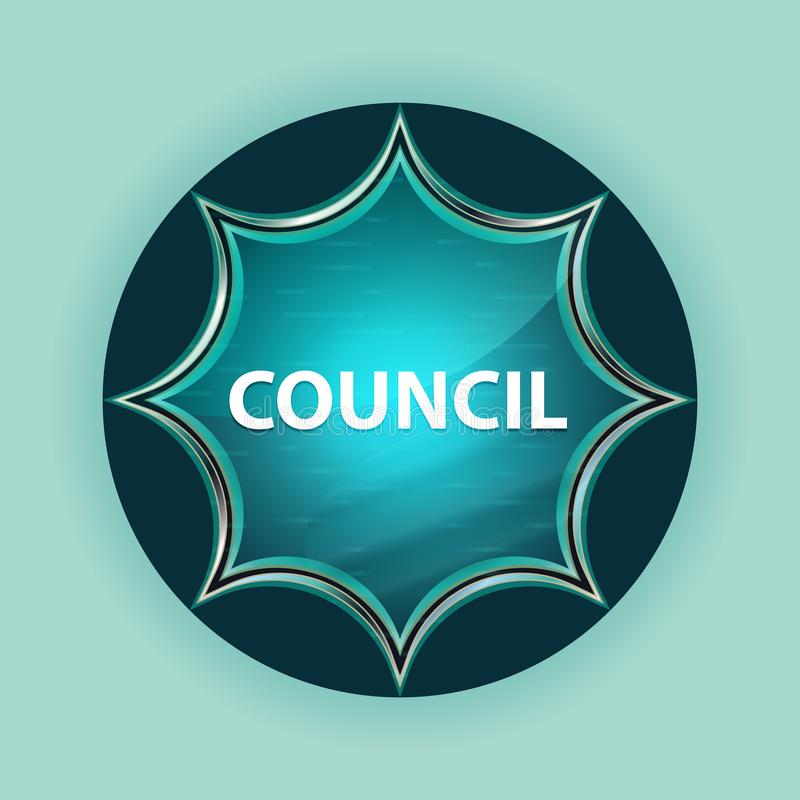 Council magical glassy sunburst blue button sky blue background. Council Isolated on magical glassy sunburst blue button sky blue background vector illustration