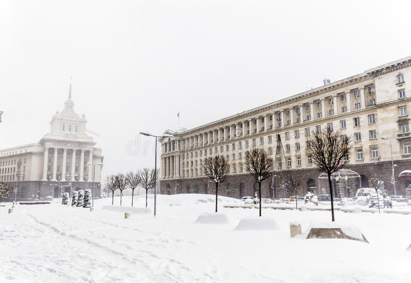 Download The Council Of Ministers Building In Central Sofia In The Winter Stock Photo - Image: 83720719