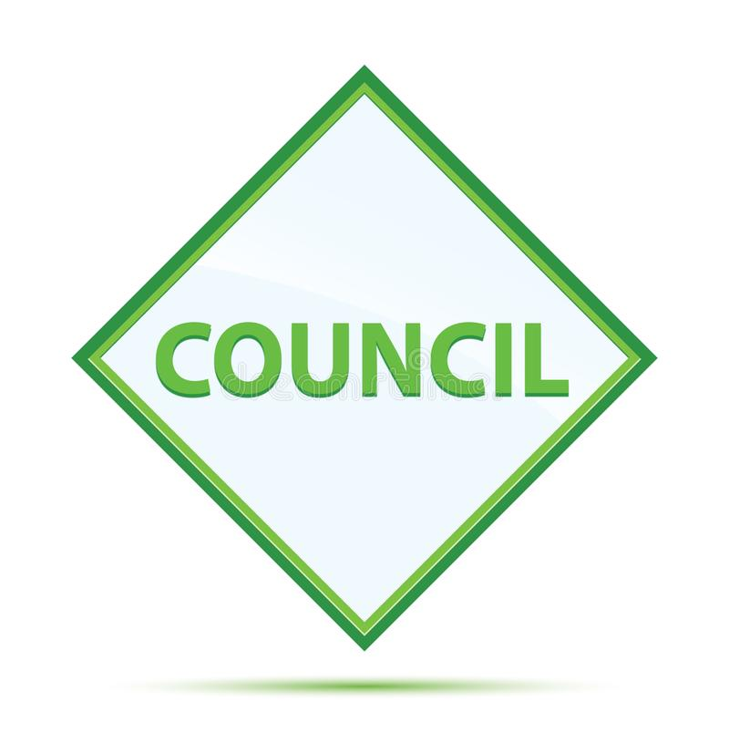 Council modern abstract green diamond button. Council  on modern abstract green diamond button royalty free illustration