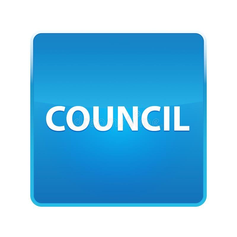 Council shiny blue square button. Council Isolated on shiny blue square button stock illustration