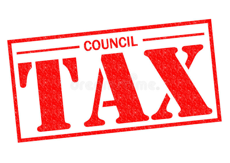 COUNCIL TAX. Red Rubber Stamp over a white background stock illustration