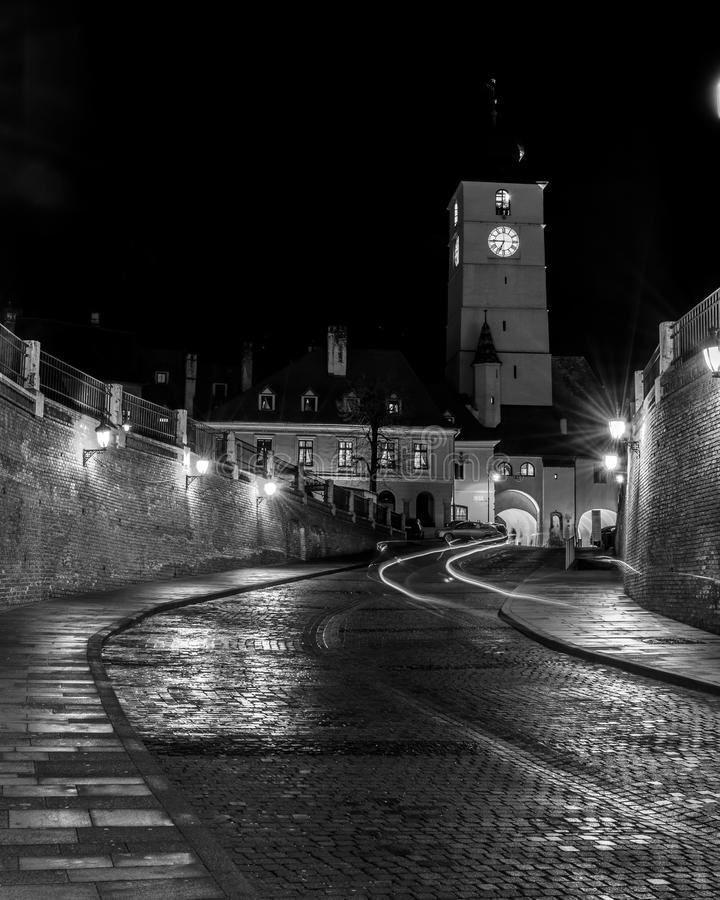 The Council Tower at night in Sibiu, Romania royalty free stock image