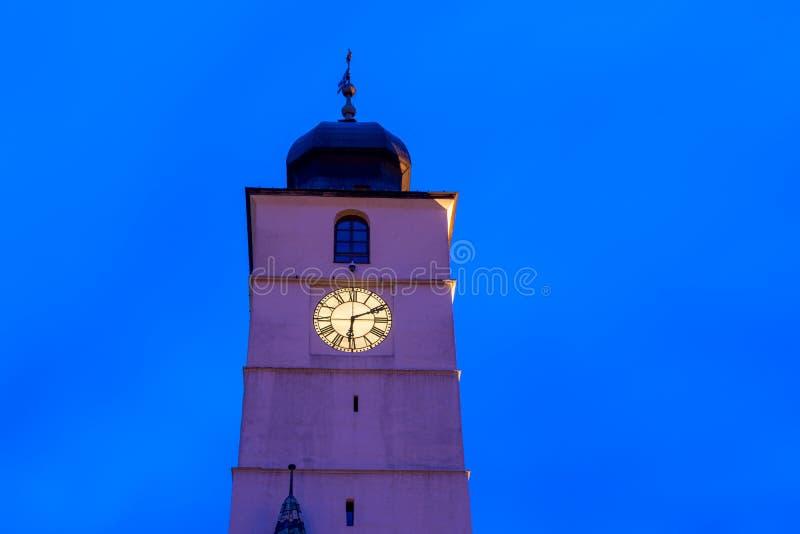 The Council tower in Sibiu at night in Transylvania region, Romania royalty free stock photos