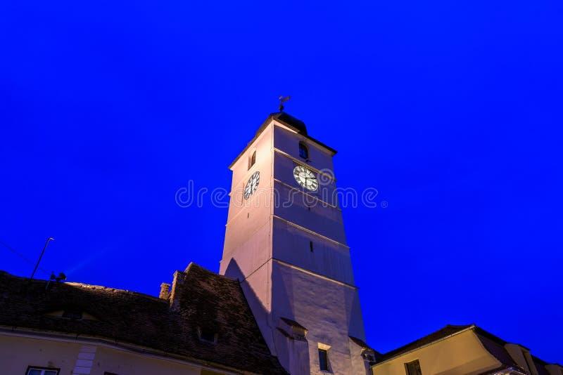 The Council tower in Sibiu at night in Transylvania region, Romania stock image