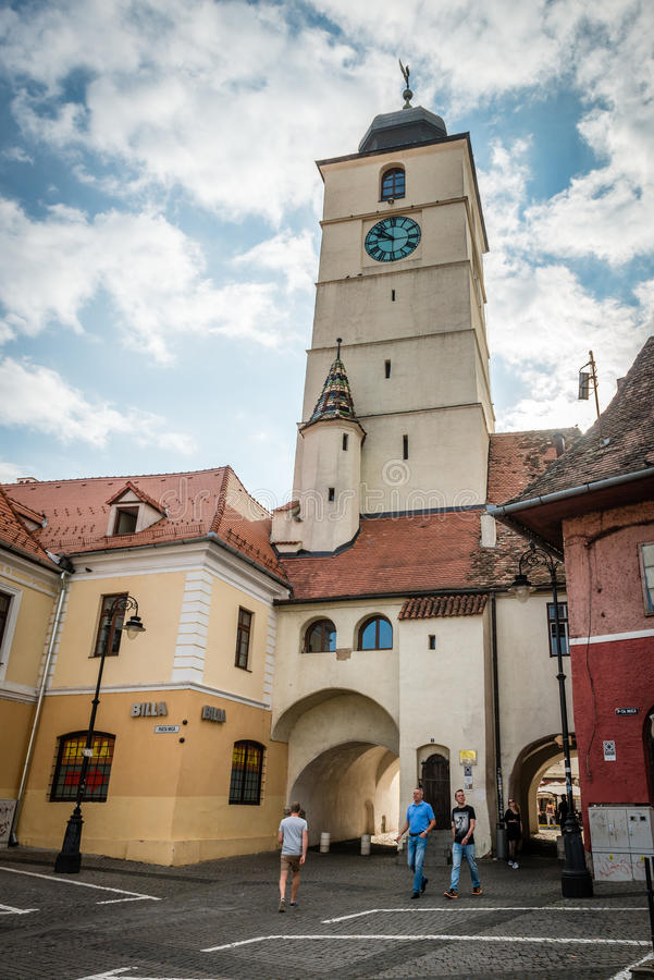 Council Tower in Sibiu, Romania royalty free stock image