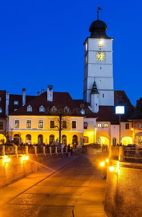 Council Tower at twilight, Sibiu, Transylvania stock images
