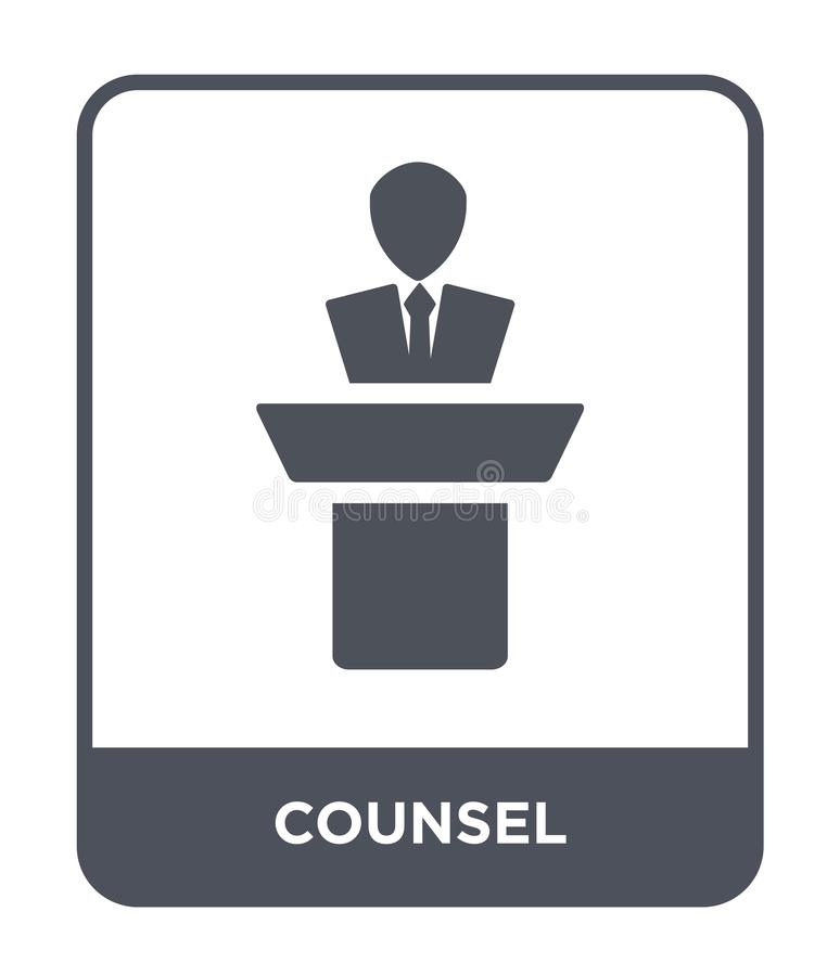 counsel icon in trendy design style. counsel icon isolated on white background. counsel vector icon simple and modern flat symbol stock illustration