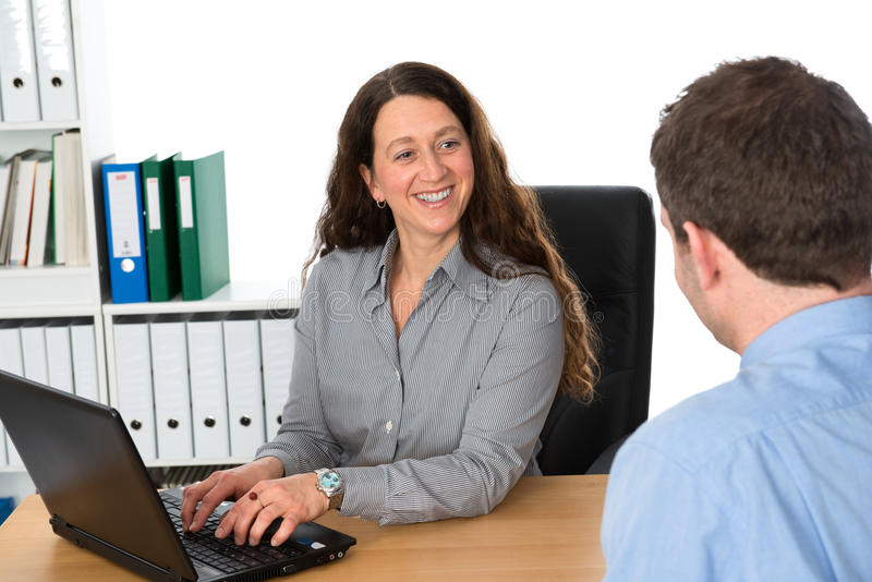 Counseling interview. Businesswoman and a men in counseling interview stock photos