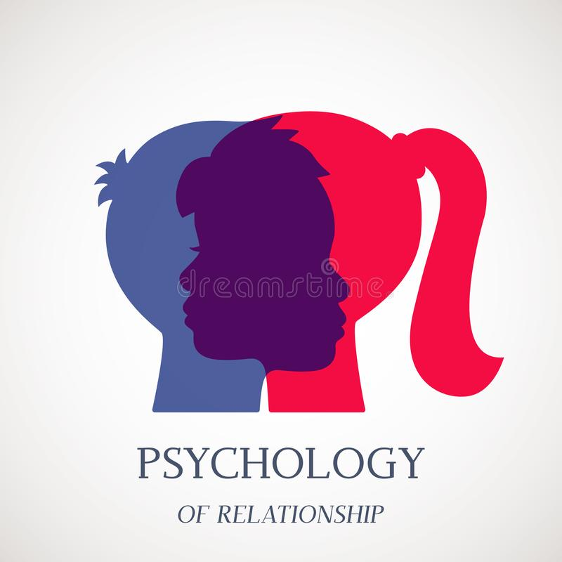 Counseling on psychotherapy and depression for disabled persons in a psychology room. Logo for the office of a psychotherapist and stock illustration
