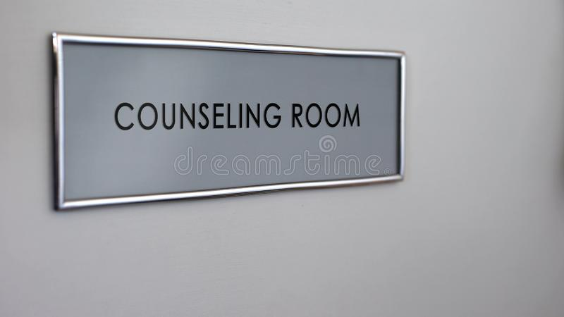Counseling room door, family therapy, assistance and support group, healthcare stock photos
