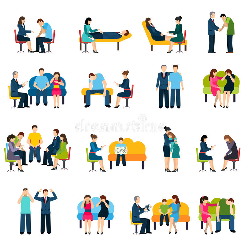 Counseling Support Group Flat Icons Set Stock Vector