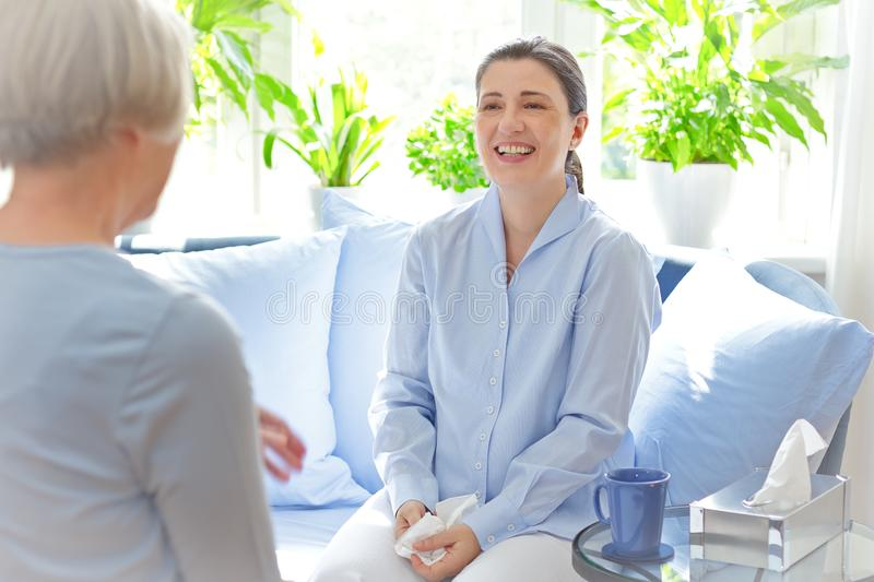 Counseling therapy session happy patient stock photo