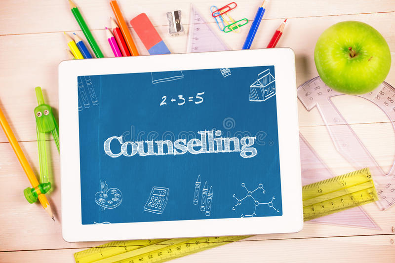 Counselling against students desk with tablet pc. The word counselling and school doodles against students desk with tablet pc vector illustration
