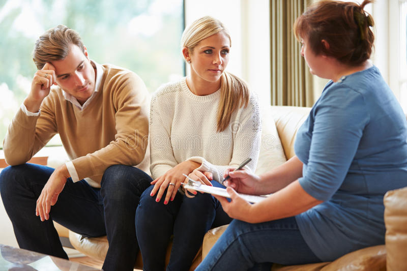 Counselor Advising Couple On Relationship Difficulties royalty free stock photos