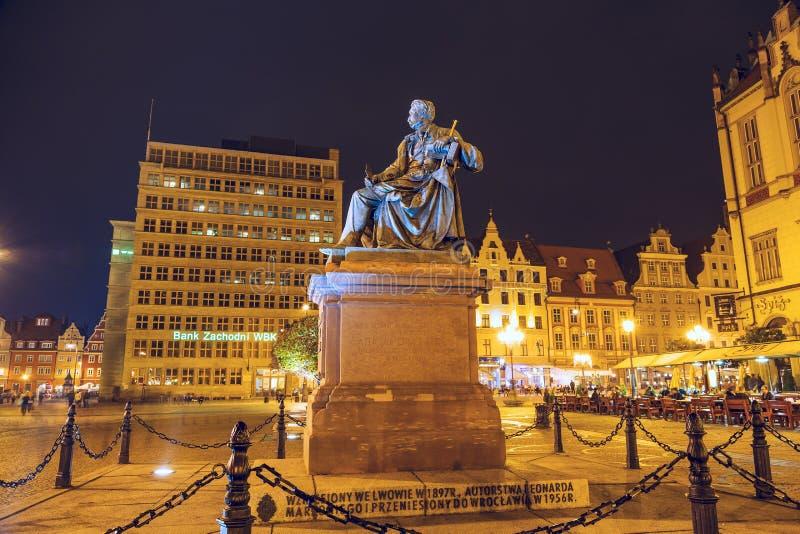 Count Aleksander Fredro monument, night view