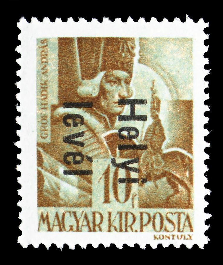 Count Andras Hadik 1710-1790 field marshal, serie, circa 1945. MOSCOW, RUSSIA - JULY 19, 2019: Postage stamp printed in Hungary shows Count Andras Hadik 1710 royalty free stock images