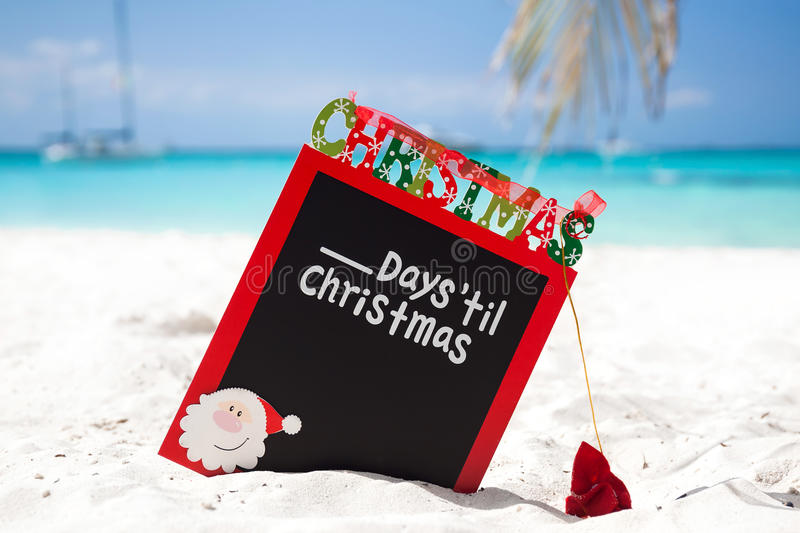 Count down till Christmas holiday on tropical vacation stock images