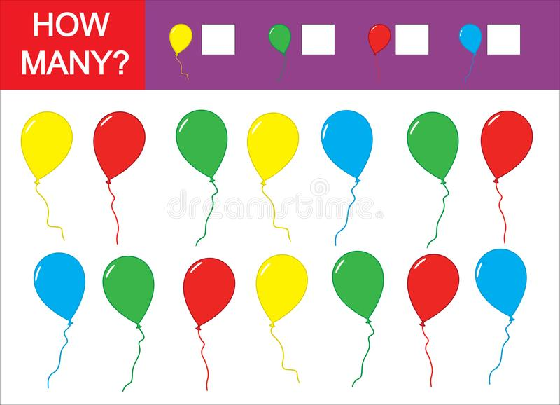 Count how many balloons, teaching colors. Counting kid's game. royalty free illustration