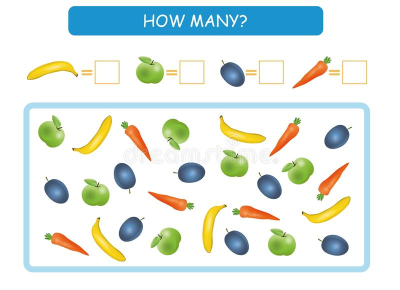 Count how many fruits and vegetables. Write the answers. Counting game for preschool children. Vector illustration. vector illustration