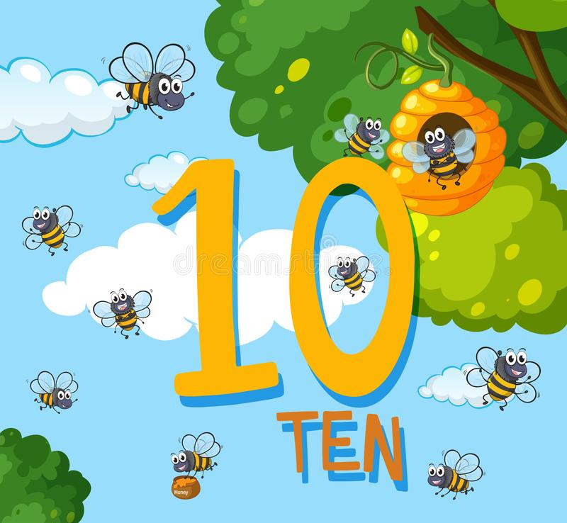 Count number ten bee. Illustration royalty free illustration